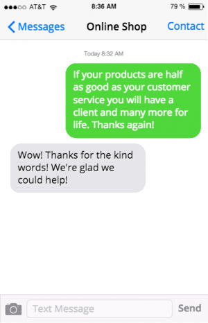 online shop customer raving about service using message mate