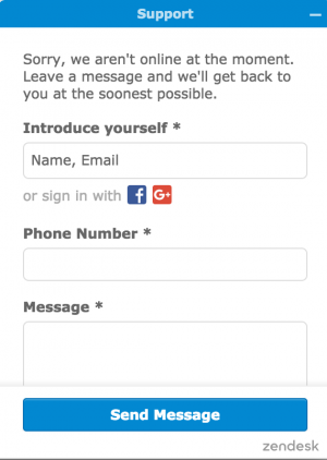 Annoying live chat asks you to fill out a bunch of fields