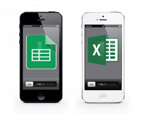 two phone, Excel & Google Spreadsheets icons to symbolize texting from spreadsheets
